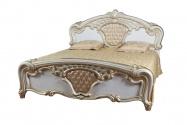 Кровать Карина Беж Золото с кожаной вставкой